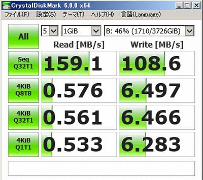 ハードディスク速度測定